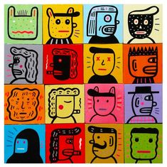 "Craigio Hopson's' recent collection of portrait paintings on wood panel entitled, ""Faces from the pub"" is a colorful collection of images of people. Art Illustrations, Graphic Illustration, Posca, Outsider Art, Freelance Illustrator, New Tattoos, Unique Art, Robots, Therapy"