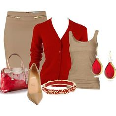 Tan Skirt, red sweater
