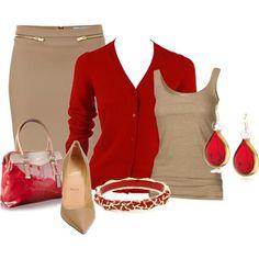 Tan Skirt, red sweater