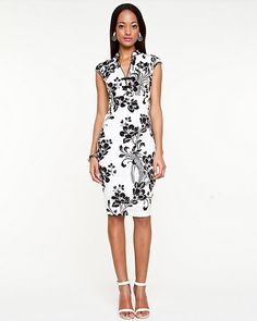 Floral Print Fitted Dress - love this .... the potential for colour  accessory is limitless! 95aea060e