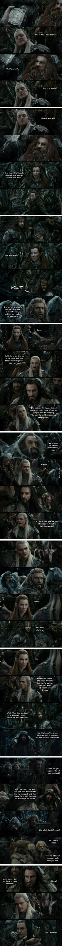 Elves and Dwarves. I almost wish this exchange were actually in the film.