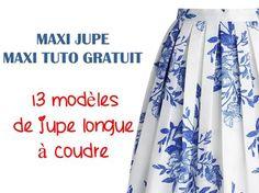 13 patrons et tutoriels gratuits rien que pour vous, sélection des meilleurs modèles de jupes longues tendance et chic à faire soi-même. #jecouds #Isew #diy #couture #memade #cousumain #coudre #sewingmachine #mac