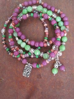 Lotus Charm Bohemian Gypsy Stacker Bracelet Set by thirdtimecharms, $24.00 - SOLD
