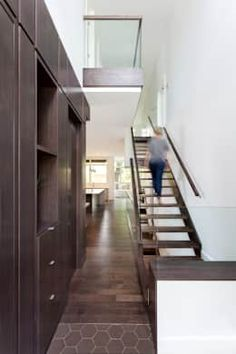 McKellar Park New Home: modern Corridor, hallway & stairs by Jane Thompson Architect Hallway Ideas, Modern Spaces, Staircase Design, Corridor, Staircases, Open Concept, Foyer, Facade, Beautiful Homes