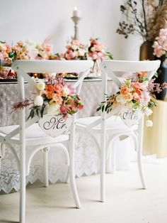 Spring wedding chair decor // Photography ~ We Are Origami