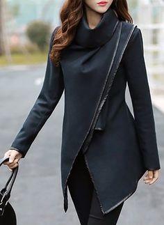 Polyester Gray Khaki Dark Blue Long Long Sleeve Others Coats & Jackets (1026143) @ floryday.com