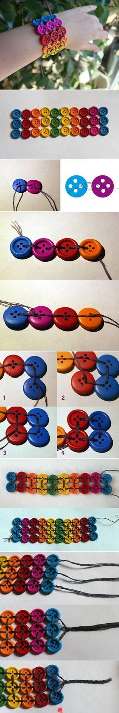 DIY Button Bracelet diy crafts craft ideas easy crafts diy ideas crafty easy diy diy jewelry diy bracelet craft bracelet jewelry diy by margery Easy Diy Crafts, Creative Crafts, Crafts For Kids, Kids Diy, Button Art, Button Crafts, Diy Bracelets Easy, Gold Bracelets, Colorful Bracelets