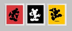 3 Pieza de arte silueta Mickey Mouse