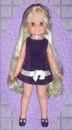 I had this doll and adored her purple dress and lovely lavender eyes! You turned her knob on her back and made her hair short or long My Childhood Memories, Childhood Toys, Great Memories, Velvet Dolls, Crissy Doll, Old Dolls, 1970s Dolls, 1960s, Retro Toys