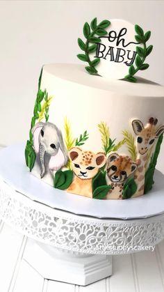 Jungle Birthday Cakes, Animal Birthday Cakes, Jungle Cake, Fondant Birthday Cakes, Fondant Baby, Cake Decorating Frosting, Cake Decorating Designs, Cake Decorating Videos, Cake Decorating Techniques