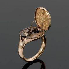 Gold sundial and compass ring, German, ca. 16th century