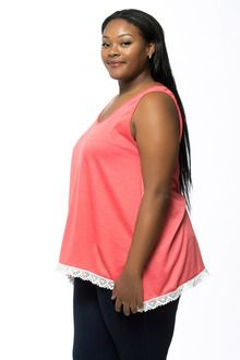 Coral Lace Trim Plus Size Tank