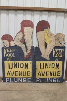 Vtg union ave plunge bakersfield ca swimming pool folk art wood signs historical Antique Signs, Vintage Signs, Vintage Ideas, Sign O' The Times, Vintage Oddities, Bakersfield California, Kern County, California History, Vintage Swim