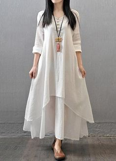 White Maxi Dress Women Soft Cotton Linen Long Sleeve Dresses Loose Party Literary Vintage Dress fashion Brief Long Dresses