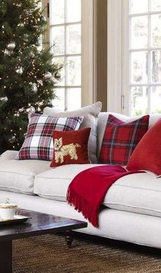 tartan sofa would be good - Williams and Sonoma tartan throw pillows. Love the tartan! Tartan Christmas, Christmas Love, Country Christmas, Winter Christmas, All Things Christmas, Christmas Morning, Beach Christmas, Christmas Pillow, Victorian Christmas