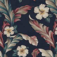 Hanalei Wallcovering in Sanctum Tropical Wallpaper, Modern Wallpaper, Wall Wallpaper, Peel And Stick Wallpaper, Vintage Patterns, Order Prints, Digital Prints, Plant Leaves, Exotic