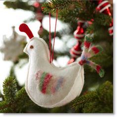 Christmas felt crafts | Pretty Felt Partridge Christmas Ornament pattern | Felting ...