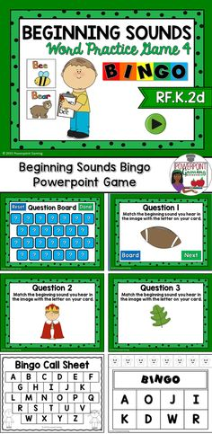 Engage students with this fun, interactive sounds game. In this bingo game, students are matching images with letter sounds. This set includes 34 Bingo cards (2X4), 1 call Sheet, printable chips, printable call cards, and the powerpoint game. There's also an blank bingo card in case you need to make more. Each bingo card comes with its own set of chips. Simply print and your students can cut them out (or you can do it yourself). There's also an extra set of printable chips. The powerpoint…