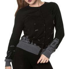 Banned Dark Skyline gebreide cardigan met Halloween print zwart/grijs