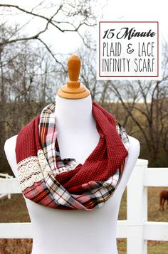 Infinity Scarf Tutorial with plaid & lace by Beverly at Flamingo Toes. Makes the perfect accessory for winter and a great gift, too!