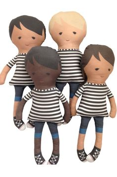 / handmade dolls with stripe tee