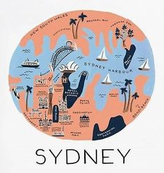 "R Paper Co. - Sydney - Art Print - 11""x 10.3"" - Australia/ Map Lovers!"