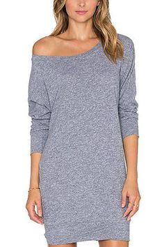 Grey Mini Dress with Long Sleeves