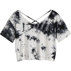 SweatyRocks Women's Tie Dye Criss Cross Back Crop Summer T Shirt ❤ liked on Polyvore featuring tops, t-shirts, crop tee, white summer tops, summer crop tops, summer tops and tye dye t shirts