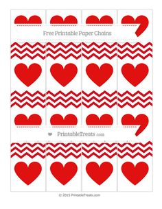 Lava Red Chevron  Heart Paper Chains