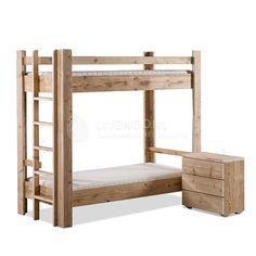 Steigerhouten stapelbed | scaffold wooden bunk | http://www.livengo.nl/steigerhouten-bed/steigerhouten-eenpersoonsbedden/steigerhouten-stapelbed | #stapelbed #steigerhout #tienerbed #kopen