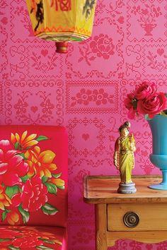 PiP Cross Stitch Red/Pink wallpaper | Traditional | Wallpaper | PiP Studio