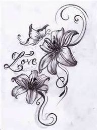 Lily Tattoos - work the names into the filigree. Maybe add a few more lines and definitely some color