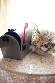 Vintage mailbox for cards. (via @Style Me Pretty)