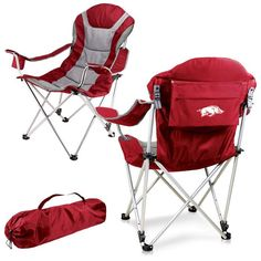 Arkansas Razorbacks Red Reclining Camp Chair.  Once you sit in this chair, you may never want to leave it. Visit SportsFansPlus.com for Details.
