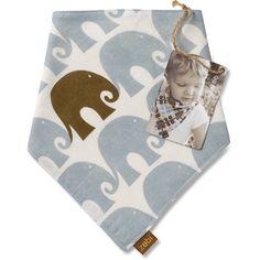 blue elephant kerchief bib
