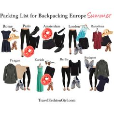 Backpacking Europe cities by travelfashiongirls, via Polyvore