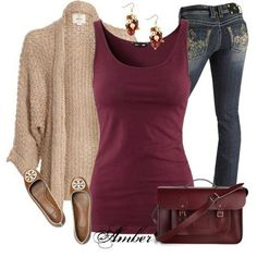 Winter Casual outfit... add empire belt over sweater?