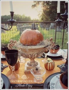 Halloween party table ideas, from stenciling your own plates to making a Halloween table runner!