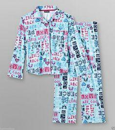 Joe Boxer Girl Cozy Flannel PJ Set Teal Blue Girl Stuff/Love  Peace-Sz XS(4/5)  - (info saved) - $12.49 - Re-list April 27, 2014 - #FreeShipping
