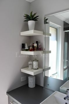 Lime & Mortar: Ensuite & Powder Room - Ikea LACK Shelves
