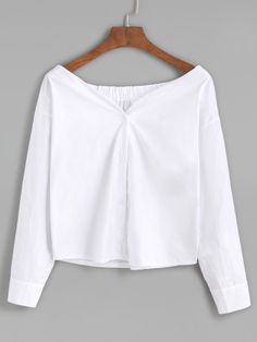 Blusa con cuello barco y botones - blanco