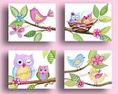Items similar to Owls nursery art, owls art prints, owl painting, owl bedding art, owl bedroom decor, baby girl owl prints, owl decor on Etsy