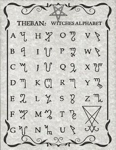 The Witches Alphabet known as Theban, presented here in Luciferian style on 8 x 11 parchment paper with sleeve. Alphabet Code, Sign Language Alphabet, Alphabet Symbols, Phonetic Alphabet, Tattoo Alphabet, Alphabet Print, Graffiti Alphabet, Witch Symbols, Magic Symbols