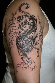 55 Half Sleeve Tiger Tattoo for Men