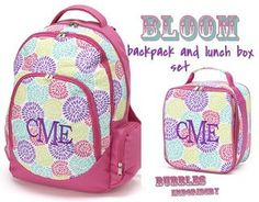Girls Bloom Backpack and Lunch Box set MONOGRAMMED by bubblesemb