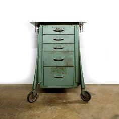 1940s Green Dental Medical Cabinet on Large Casters