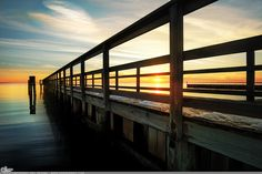 """""""Connected"""" Picture-A-Day (PAD n.2738) ...  Aren't we all?  Like it? Get one to keep:  http://www.dangrabbit.com/photography/pad/01_15_connected . . . . .  Fineart photography - sunset over long pier - Long Island, NY - by Amy DangRabbit Medina"""