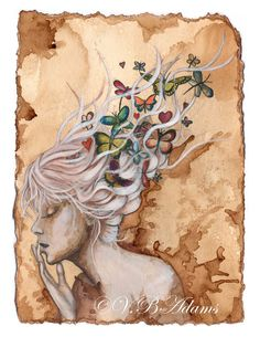 Coffee Painting Girl with butterflies and dragonflies flying out of her hair Giclee print Coffee Illustration, Illustration Art, Henna Body Art, Coffee Painting, Alternative Art, Face Art, Art Faces, Coffee Art, Retro Art