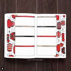 A complete oriental red lantern bullet journal theme for a whole month. From cover page, monthly spreads, weekly layouts, habit trackers and more. Source by thesmartwander bullet journal cover Bullet Journal Japan, Bullet Journal Contents, Bullet Journal Cover Ideas, Bullet Journal And Diary, Bullet Journal Banner, Organization Bullet Journal, Bullet Journal Quotes, Bullet Journal Tracker, Bullet Journal Ideas Pages