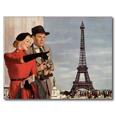 Vintage Change of Address, Tourists in Paris Post Cards